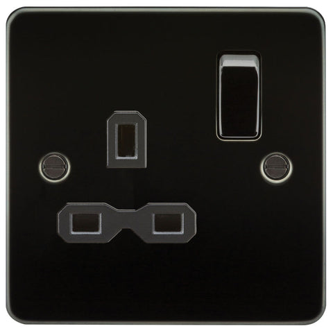 Gunmetal Finish 13A 1G DP Flat Plate Switched Socket
