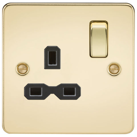 Polished Brass 13A 1G DP Flat Plate Switched Socket