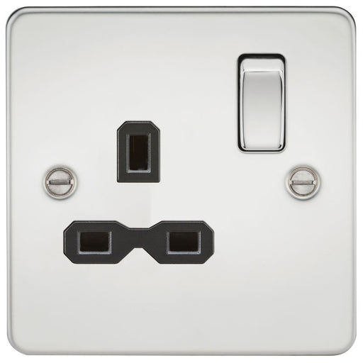 Polished Chrome 13A 1G DP Flat Plate Switched Socket - Steel City Lighting
