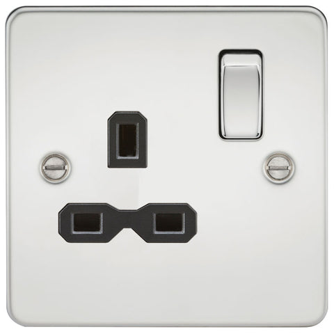 Polished Chrome 13A 1G DP Flat Plate Switched Socket