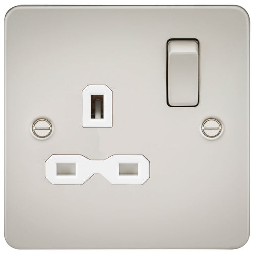 Pearl Finish 13A 1G DP Flat Plate Switched Socket - Steel City Lighting