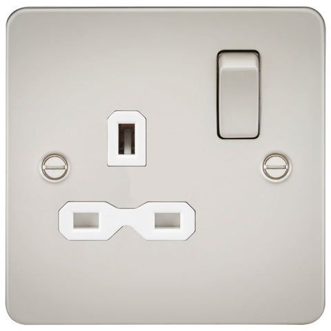 Pearl Finish 13A 1G DP Flat Plate Switched Socket