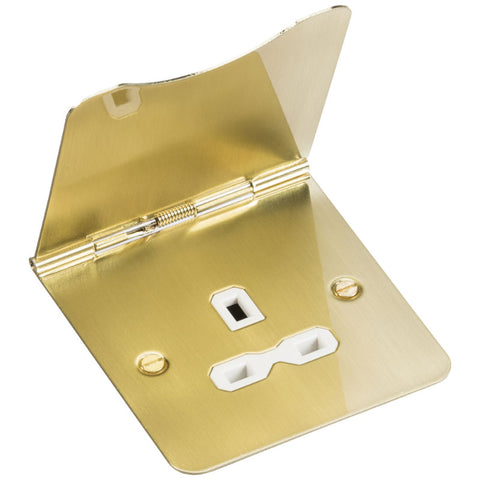 Brushed Brass 13A 1G Flat Plate Floor Socket