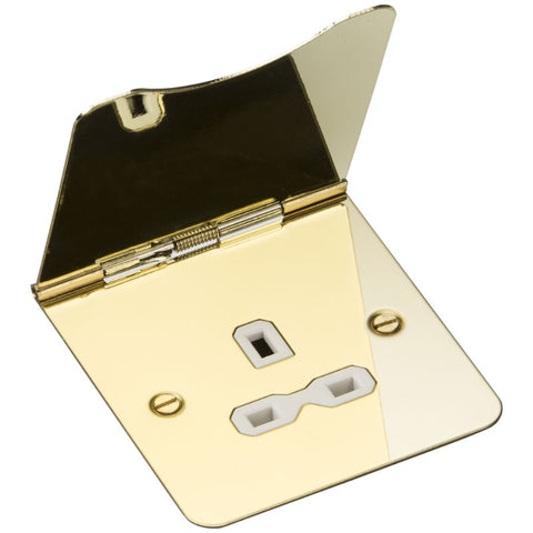 Polished Brass 13A 1G Flat Plate Floor Socket