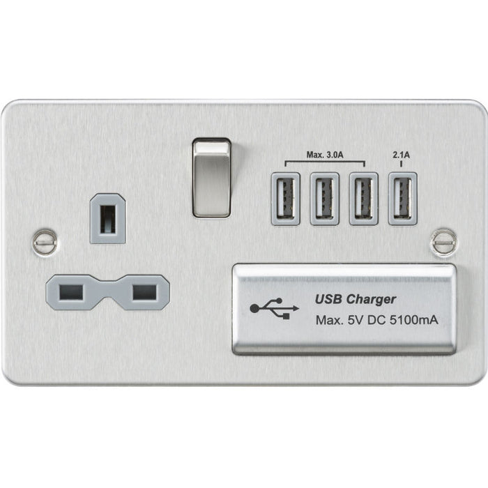 Brushed Chrome 13A 1G Quad USB Flat Plate Switched Socket - Steel City Lighting