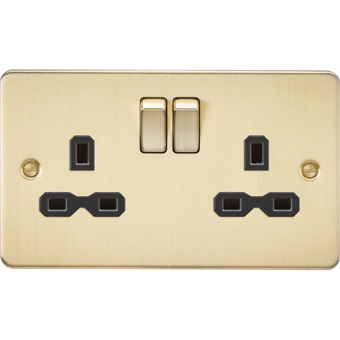 Brushed Brass 13A 2G DP Flat Plate Switched Socket