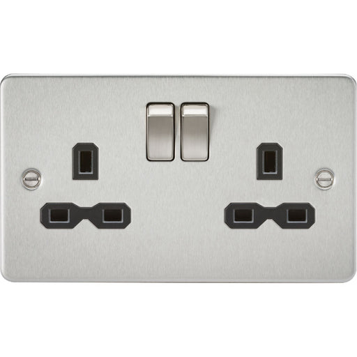 Brushed Chrome 13A 2G DP Flat Plate Switched Socket - Steel City Lighting