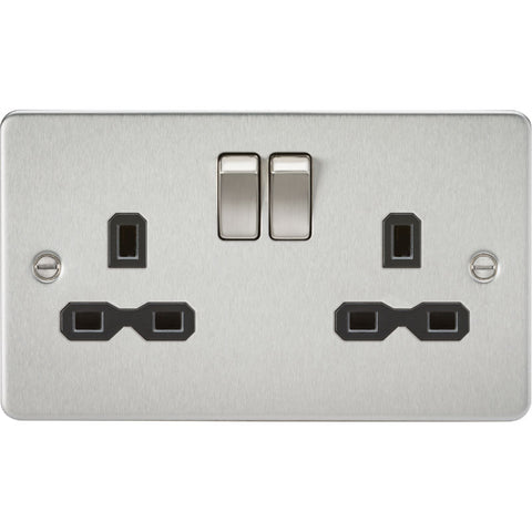 Brushed Chrome 13A 2G DP Flat Plate Switched Socket