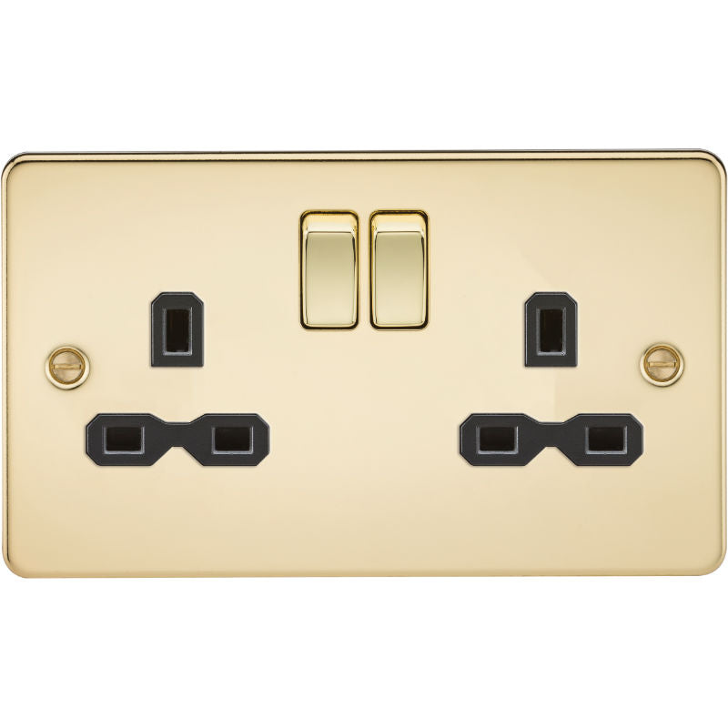 Polished Brass 13A 2G DP Flat Plate Switched Socket