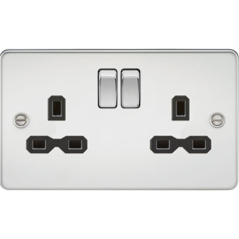 Polished Chrome 13A 2G DP Flat Plate Switched Socket