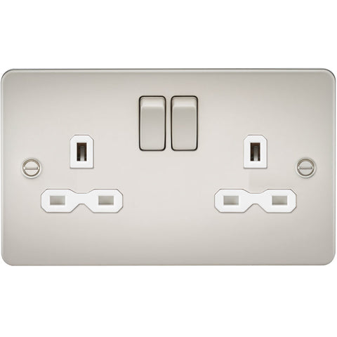 Pearl Finish 13A 2G DP Flat Plate Switched Socket