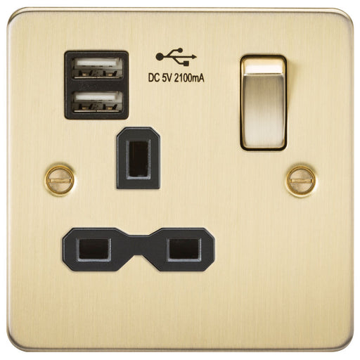 Brushed Brass 13A 1G Dual USB Flat Plate Switched Socket - Steel City Lighting