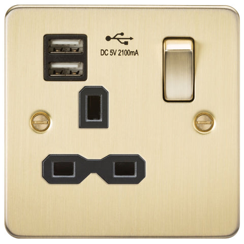 Brushed Brass 13A 1G Dual USB Flat Plate Switched Socket