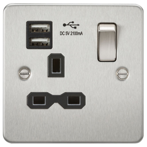 Brushed Chrome 13A 1G Dual USB Flat Plate Switched Socket - Steel City Lighting