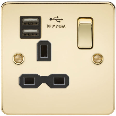 Polished Brass 13A 1G Dual USB Flat Plate Switched Socket