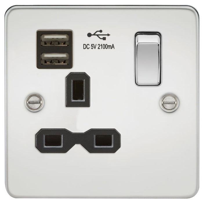 Polished Chrome 13A 1G Dual USB Flat Plate Switched Socket - Steel City Lighting