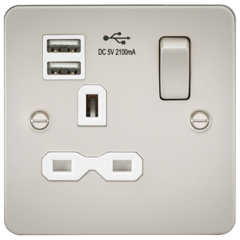 Pearl Finish 13A 1G Dual USB Flat Plate Switched Socket