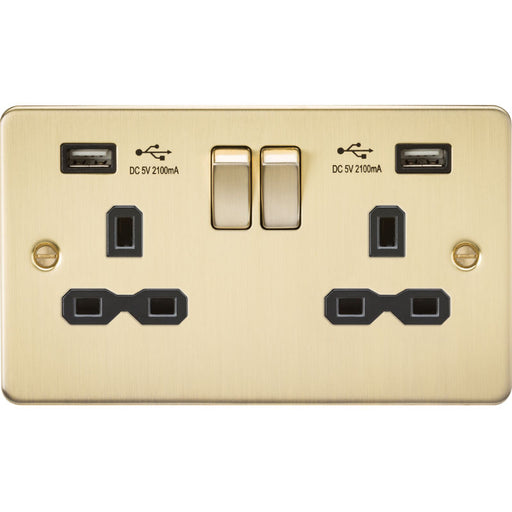 Brushed Brass 13A 2G Dual USB Flat Plate Switched Socket - Steel City Lighting