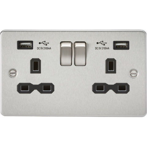 Brushed Chrome 13A 2G Dual USB Flat Plate Switched Socket