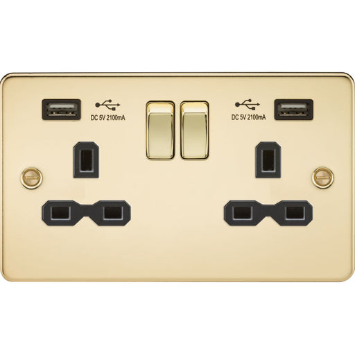 Polished Brass 13A 2G Dual USB Flat Plate Switched Socket - Steel City Lighting