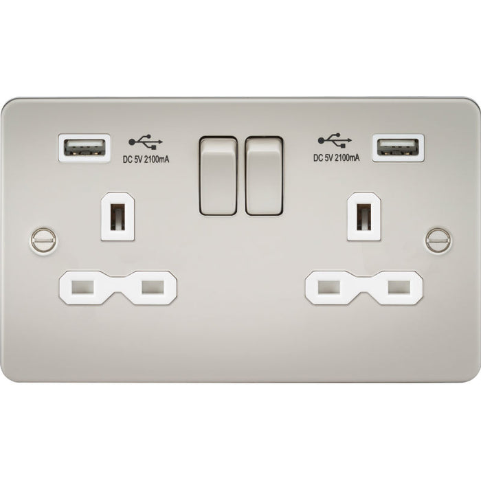 Pearl Finish 13A 2G Dual USB Flat Plate Switched Socket - Steel City Lighting