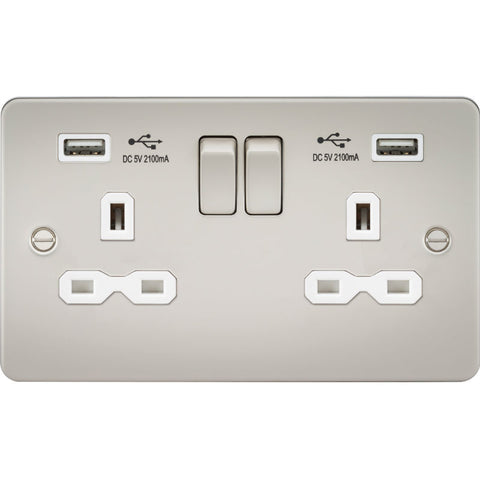 Pearl Finish 13A 2G Dual USB Flat Plate Switched Socket