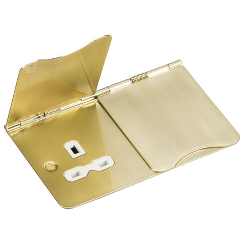 Brushed Brass 13A 2G Flat Plate Floor Socket