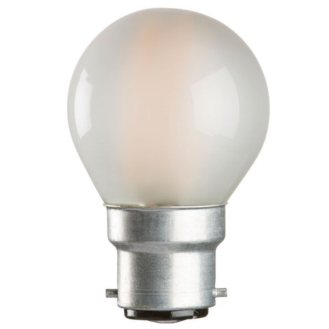 4 Watt 45mm 3000K LED Golf Ball Lamp - Bayonet Cap (B22), Frosted Finish