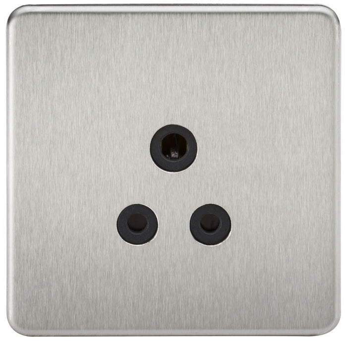 5A Screwless Round Pin Unswitched Socket with Black Inserts - Steel City Lighting