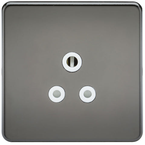 5A Screwless Round Pin Unswitched Socket with White Inserts