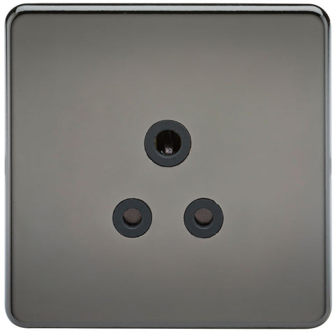5A Screwless Round Pin Unswitched Socket with Black Inserts