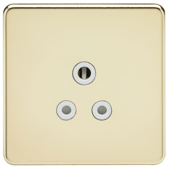 5A Screwless Round Pin Unswitched Socket with White Inserts - Steel City Lighting