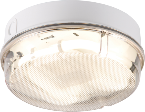IP65 16W HF Round Bulkhead with Prismatic Diffuser and White Base - Steel City Lighting