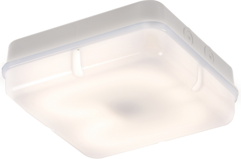 IP65 28W HF Square Emergency Bulkhead with Opal Diffuser and White Base