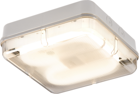 IP65 28W HF Square Emergency Bulkhead with Prismatic Diffuser and White Base