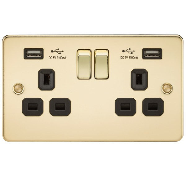13A 2G Flat Plate Switched Socket and Dual USB Chargers with Black Inserts - Steel City Lighting