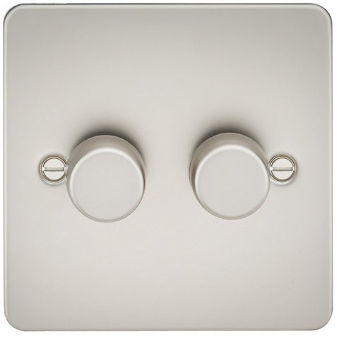 Pearl Finish 2G 2-Way Flat Plate 60-400W Dimmer Switch