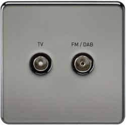 Screwless Screened Diplex Outlet (TV / FM DAB) - Steel City Lighting