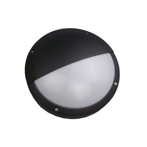 18 Watt 1080lm LED IP54 Diecast Black Eyelid Bulkhead