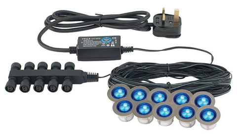 Ikon Round 30mm 10-Head Blue LED Decking Kit