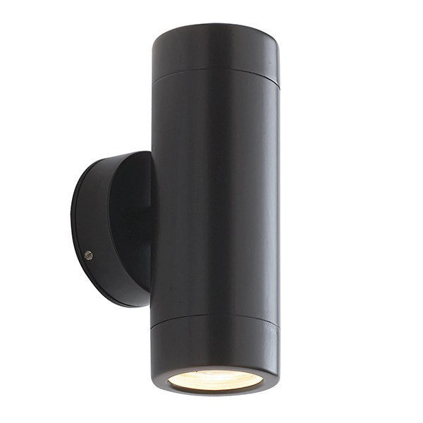 Odyssey 2 x 3.5 Watt LED GU10 IP44 Matt Black Up/Down Wall Light - Steel City Lighting