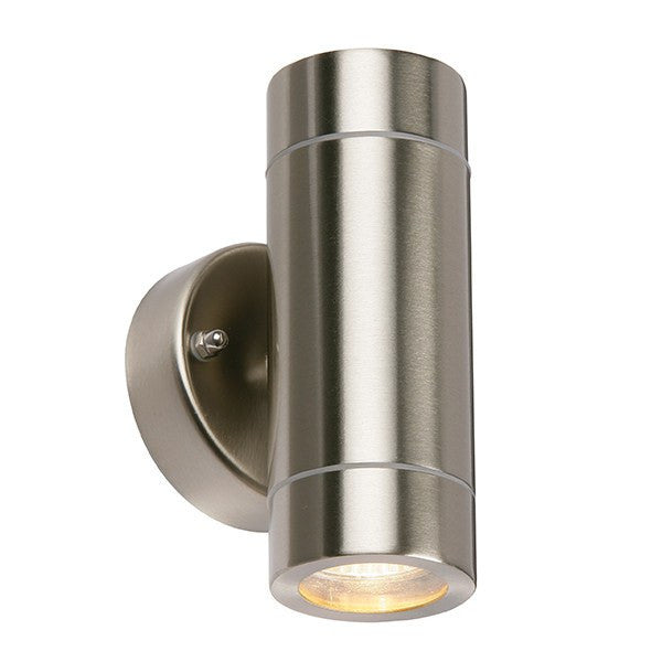 Palin 2 x 7 Watt GU10 IP44 Stainless Steel Up/Down Wall Lantern - Steel City Lighting