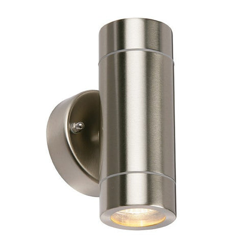 Palin 2 x 7 Watt GU10 IP44 Stainless Steel Up/Down Wall Lantern