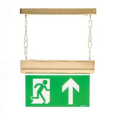 Brass LED 1 Metre Chain Suspended NM/M3 Self Test Exit Sign