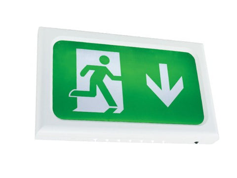 Encore Slimline LED White Body Self Test Exit Sign c/w Legend Kit