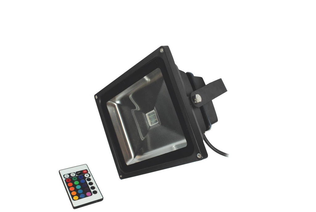 30 Watt 2,400lm LED RGB Colour Change Floodlight C/W Remote Control