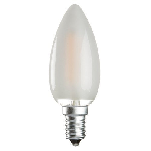 2 Watt 3000K LED Candle Lamp - Small ES Cap (E14) Frosted Finish - Steel City Lighting