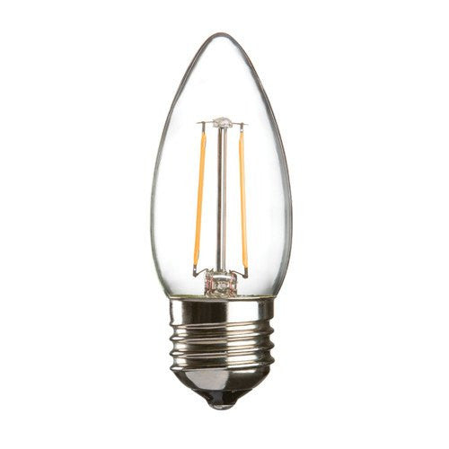 2 Watt 35mm 3000K LED Candle Lamp - Edison Screw Cap (E27), Clear Finish