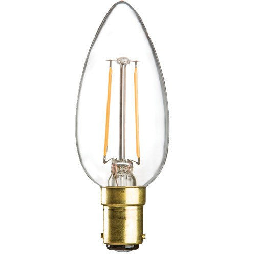 2 Watt 35mm 3000K LED Candle Lamp - Small Bayonet Cap (B15d), Clear Finish