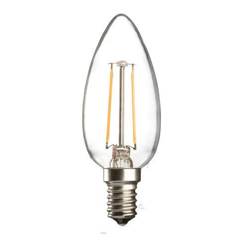 2 Watt 35mm 3000K LED Candle Lamp - Small Edison Screw Cap (E14), Clear Finish - Steel City Lighting